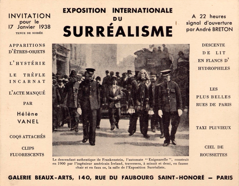 Invitation International Surrealist Exhibition in Paris 1938
